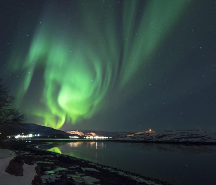 Het noorderlicht in Alta Noorwegen camperreis Scandinavië