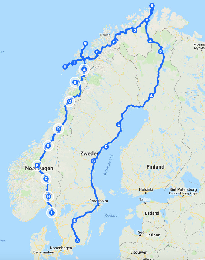 Route door Scandinavie, rondreis naar de Noordkaap