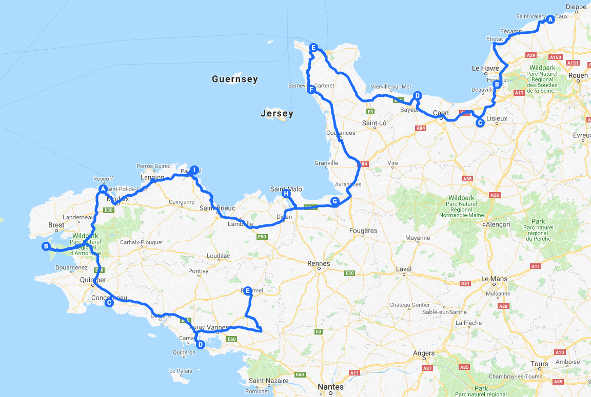 Route van de camperreis Frankrijk, gebied Normandie en Bretagne