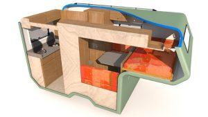 Amarok traveller indeling 1 persoons bed met keuken
